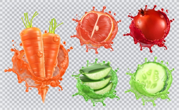 Сок алоэ, морковь, грейпфрут, гранат, огурец. здоровье и забота.