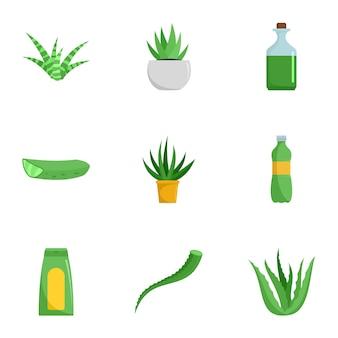 Aloe medicine icon set, flat style