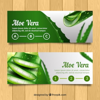 Aloe vera banners in realistic style