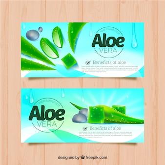 Aloe vera blue banners