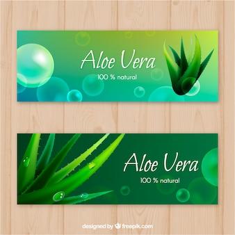 Aloe vera bokeh banners