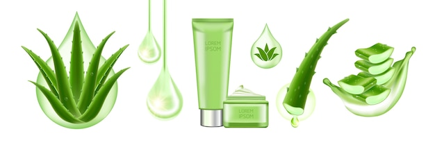 Aloe vera collagen and serum for skin care cosmetic  illustration