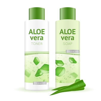 Aloe vera cosmetics realistic illustration