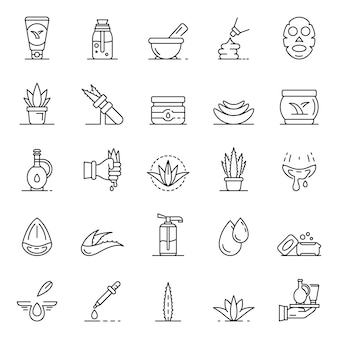 Aloe vera icon set. outline set of aloe vera vector icons