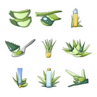 Aloe vera icon set