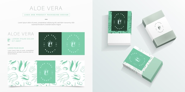 Aloe vera logo and packaging design template. organic soap package mockup.