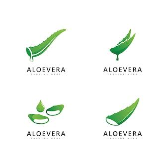 アロエベラの植物のロゴのドロップベクトルデザイン。アロエベラジェルロゴアイコン