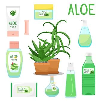 Aloe vera plant and products set