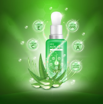 Aloe vera plant with fresh drops and dropper glass bottle