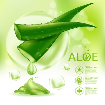 Косметика для ухода за кожей с реалистичным растением с алоэ вера