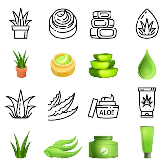 Aloe vera set cartoon thin line vector