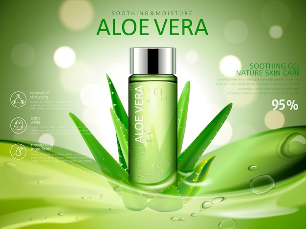 化粧品ボトル付きアロエベラスージングジェル広告