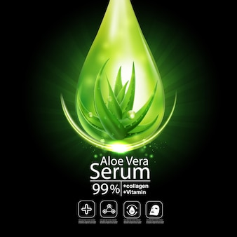 Aloe vera vector dark background for skincare cosmetic products