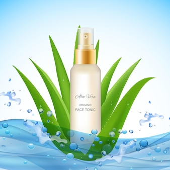 Aloe vera  with water waves drops realistic leaves of plant and organic face tonic package