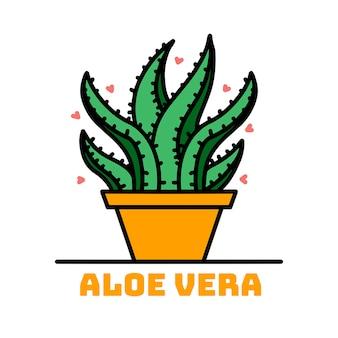 Aloe in a yellow ceramic pot. medicinal plant aloe.