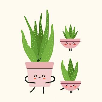アロエベラ植物イラスト。孤立したベージュ色の背景にアロエベラのイラスト。