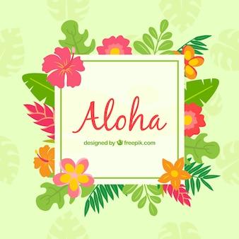 Aloha backgorund with tropical flowers