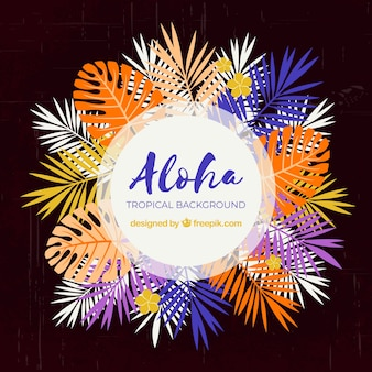 Aloha background with colorful leaves