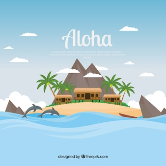 Aloha background with cottages in a beautiful landscape