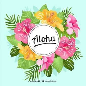 Aloha background with flowers and watercolor leaves