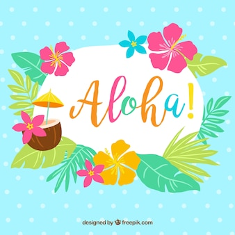 Aloha background with leaves and flowers