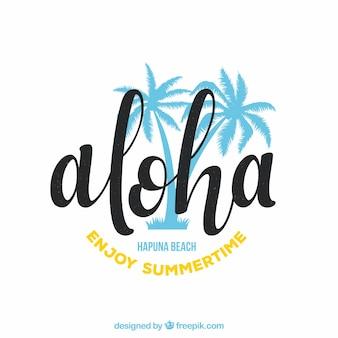 Aloha background with palm trees
