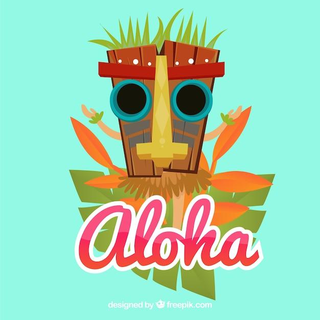Aloha background with tribal mask