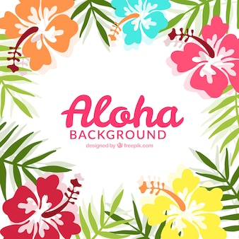 Aloha background with tropical flowers