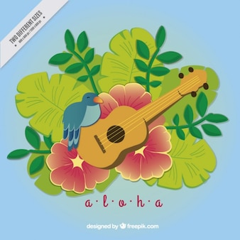 Aloha background with ukulele