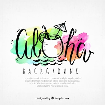 Aloha background with watercolor stains