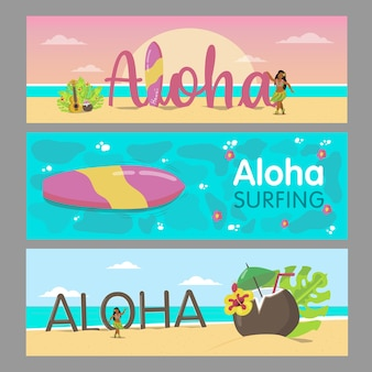 Aloha banners design for hawaiian resort. colorful lady dancing on beach and sea water. hawaii vacation and summer concept. template for promotional leaflet or brochure