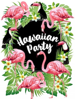 Aloha beach party_hawaiian party. vector illustration of tropical birds, flowers, leaves.