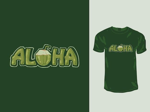 Дизайн футболки с кокосовым орехом aloha