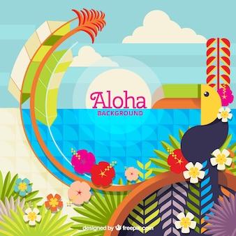 Алоха красочный ландшафтный фон в плоском дизайне