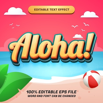 Редактируемый текстовый эффект aloha с красивым фоном на пляже заката для летнего баннера
