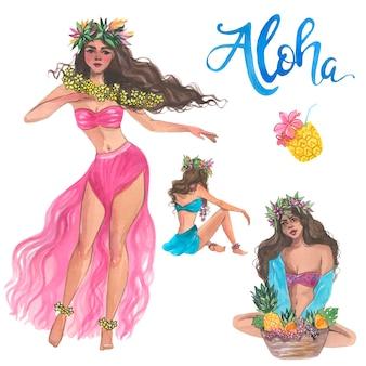 알로하 소녀, 수채화 하와이 그림입니다. 벡터 격리 요소입니다.