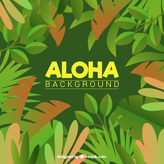 Aloha sfondo verde con foglie