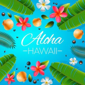 アロハハワイの背景。熱帯の植物、葉、花。ハワイ語の挨拶。図。