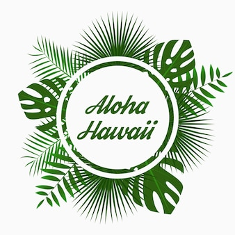 Дизайн карты алоха гавайи с тропическими пальмовыми листьями, джунглями, экзотическими растениями и закругленной каймой