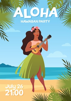 Aloha hawaii flyer with woman in traditional hawaiian skirt dancing hula dance with ukulele guitar