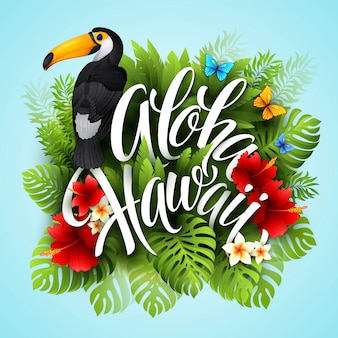 Aloha hawaii. hand lettering with exotic flowers. illustration