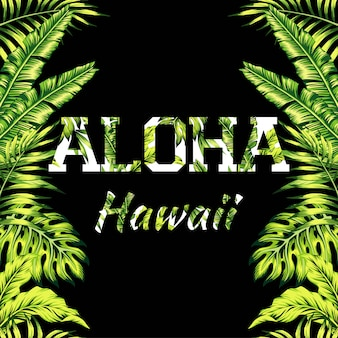 Aloha hawaii illustration lettering with palm leaves