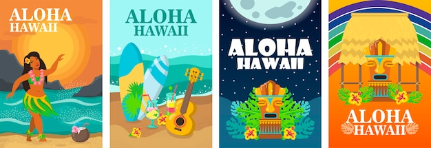 Набор макетов плаката алоха гавайи. тропический пляж, танцор, доска для серфинга и укулеле векторная иллюстрация