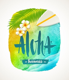Aloha hawaii - summer vacation   illustration. watercolor banner with brush calligraphy greeting.   illustration.