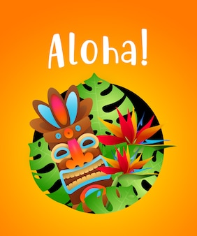 Aloha lettering with tropical plants and tribal mask in circle