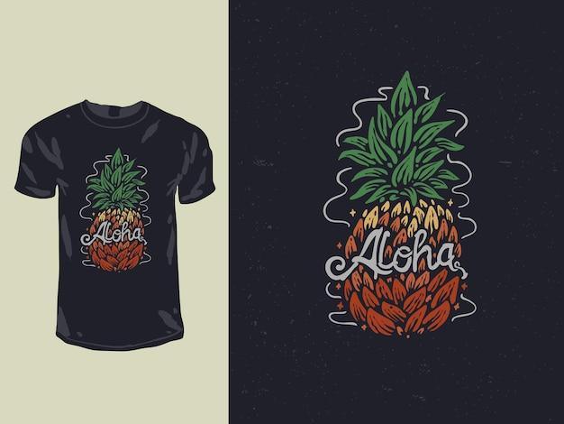 알로하 파인애플 티셔츠 디자인