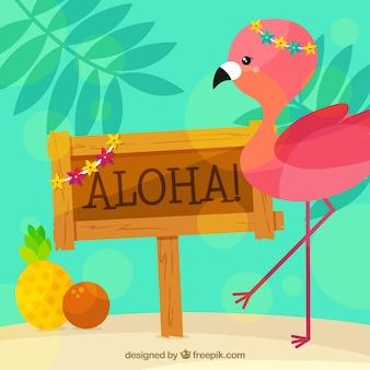 Aloha poster background with pretty flamingo