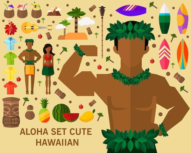 Aloha set cute hawaiian concept background.