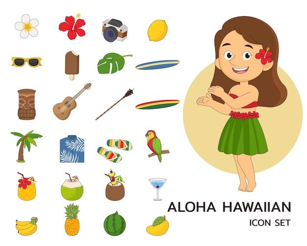 알로하 귀여운 하와이 개념 평면 아이콘을 설정합니다.
