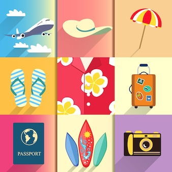 Aloha shirt. travel and vacation icons set with plane passport and suitcase shoes vector illustration
